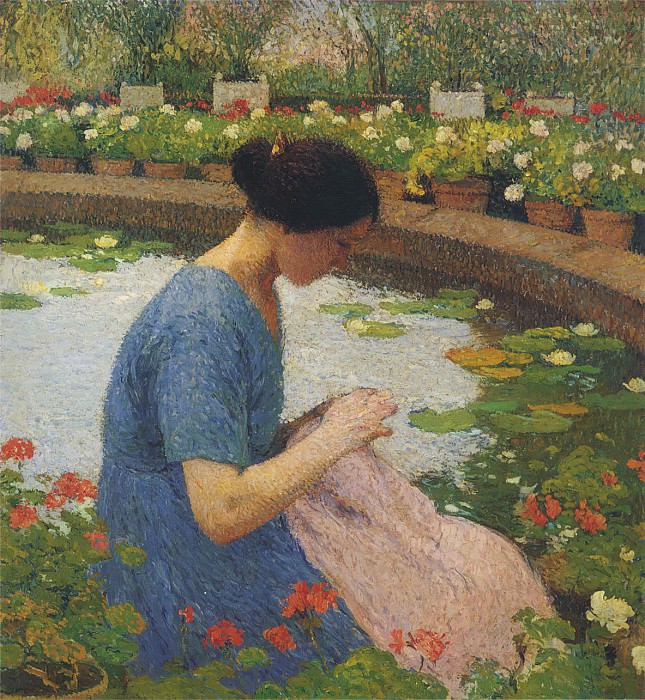 Sewing in the Garden at Marquayrol. Henri-Jean-Guillaume Martin