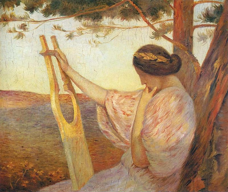 Lady with Lyre by Pine Trees 1890. Henri-Jean-Guillaume Martin