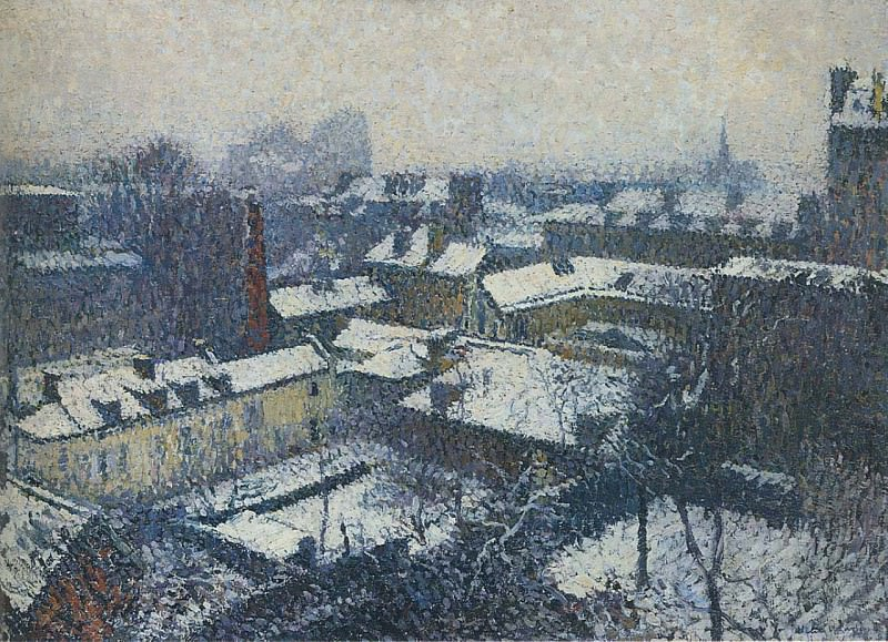 The Roofs of Paris in the Snow the View from the Artists Studio 1898. Henri-Jean-Guillaume Martin