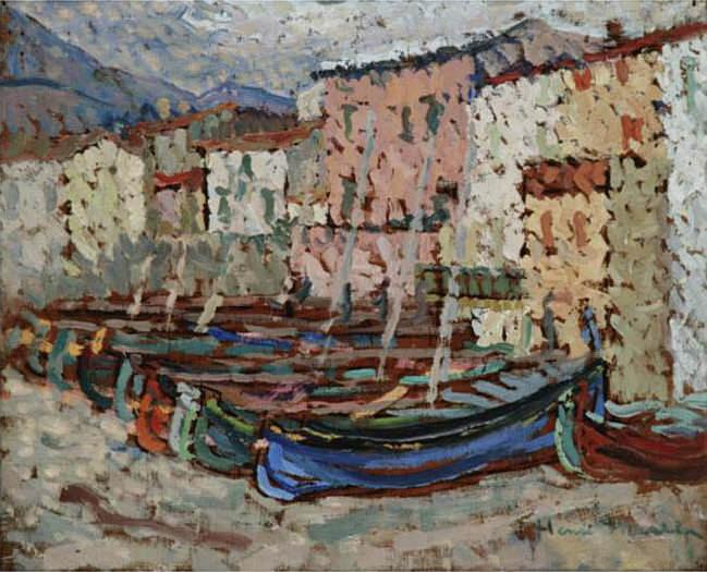 Le Barques sur le greve a Collioure. Henri-Jean-Guillaume Martin