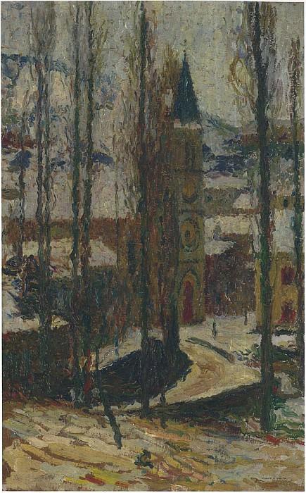Вид церкви зимой. Анри-Жан-Гийом Мартин