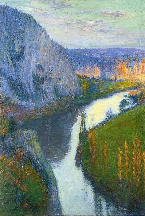 Vue sur le Lot de Saint Cirq Lapopie 1913. Henri-Jean-Guillaume Martin