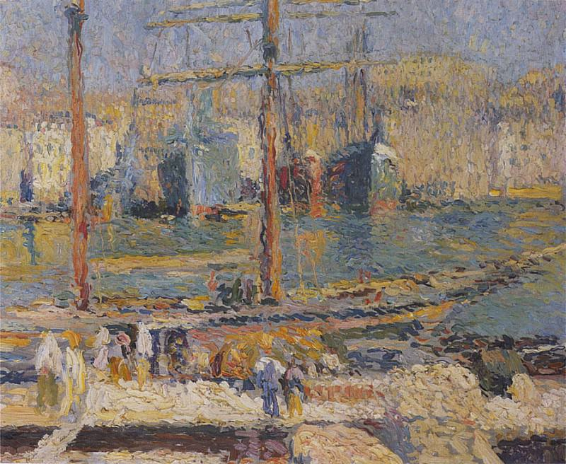 Bateaux dans Port de Marseilles. Henri-Jean-Guillaume Martin