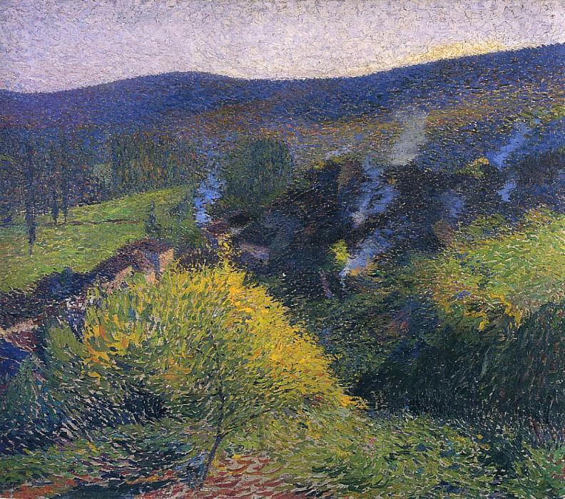 Les Chaumiers au Soir. Henri-Jean-Guillaume Martin