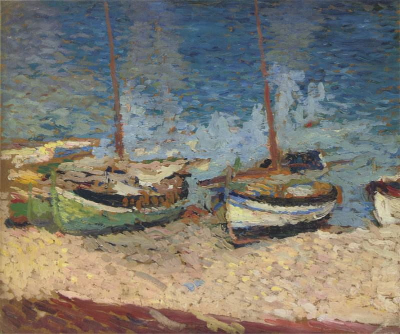 Boats in Port Collioure. Henri-Jean-Guillaume Martin