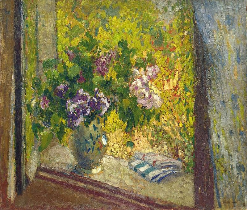 Vase of Flowers in a Window. Henri-Jean-Guillaume Martin