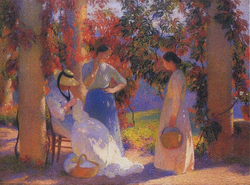 Женщины за шитьем в перголе усадьбы Маркайроль, 1912. Анри-Жан-Гийом Мартин