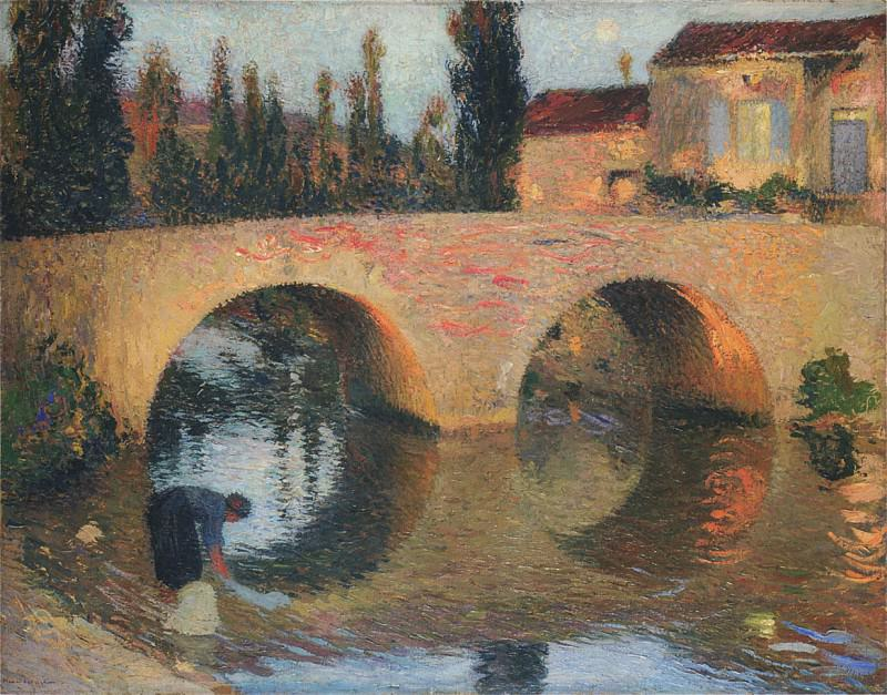 Woman Washing Clothes in River. Henri-Jean-Guillaume Martin