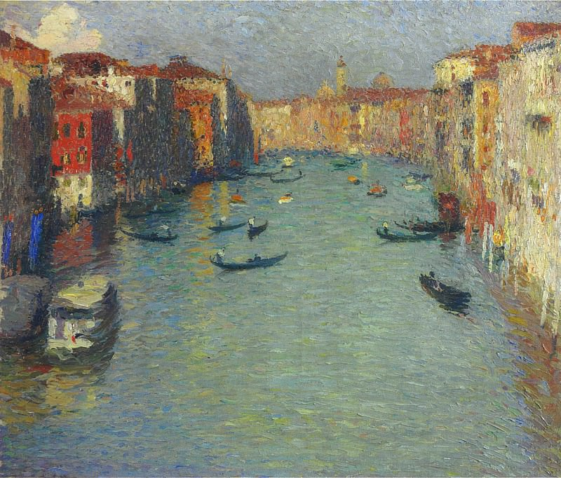 Gondolas on the Grand Canal in Venice. Henri-Jean-Guillaume Martin