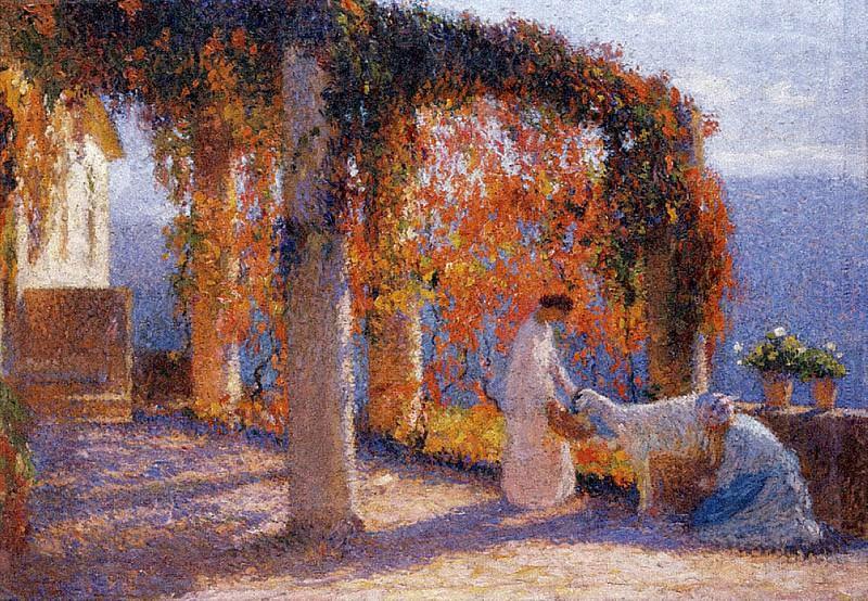 Jeune Femmes en Terrasse. Henri-Jean-Guillaume Martin