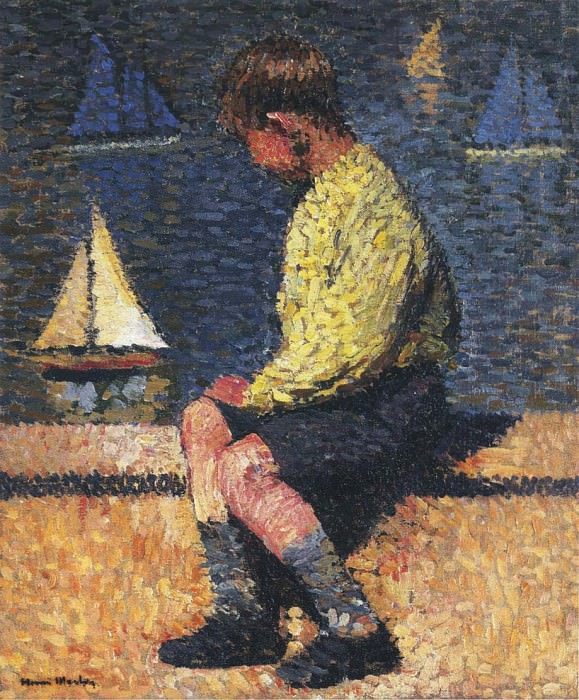 A Boy with Sailboats. Henri-Jean-Guillaume Martin