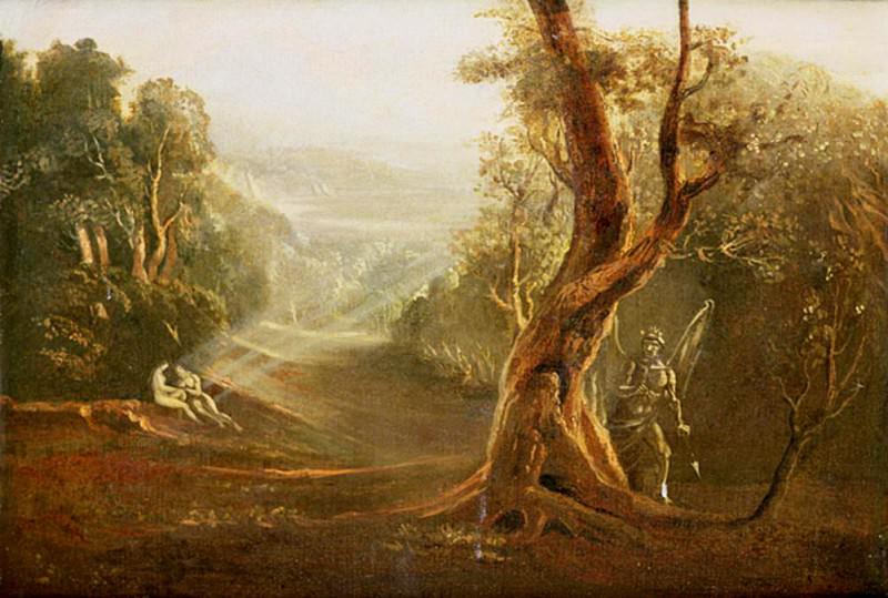 Сатана наблюдает за Адамом и Евой в раю, «Потеряный рай» Джона Мильтона (1608-1674). Джон Мартин