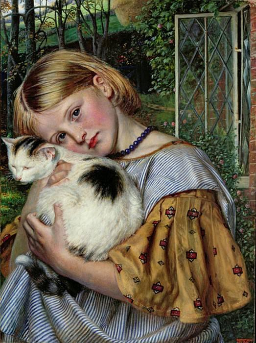 A Girl with a Cat. Robert Braithwaite Martineau