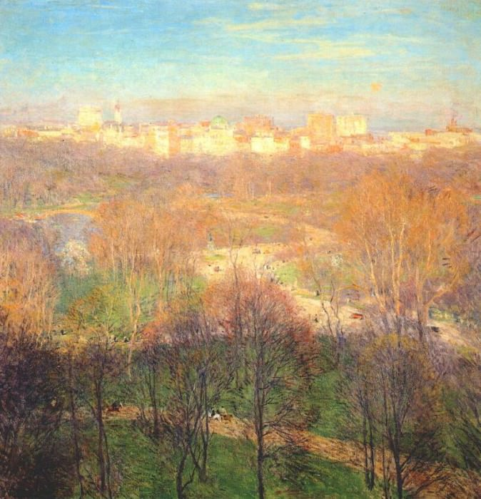 early spring afternoon (central park) 1911. Willard Leroy Metcalf