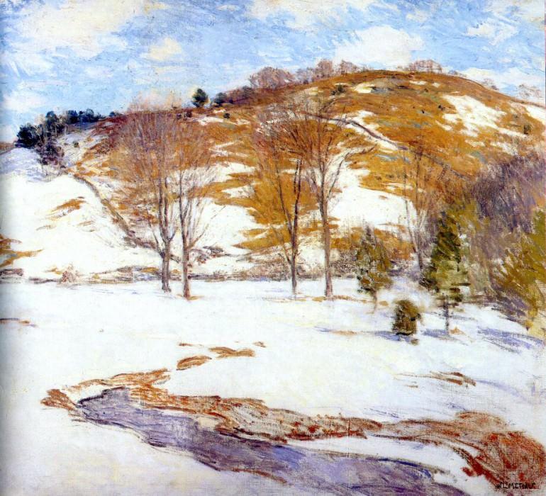 snow in the foothills c1920-5. Willard Leroy Metcalf