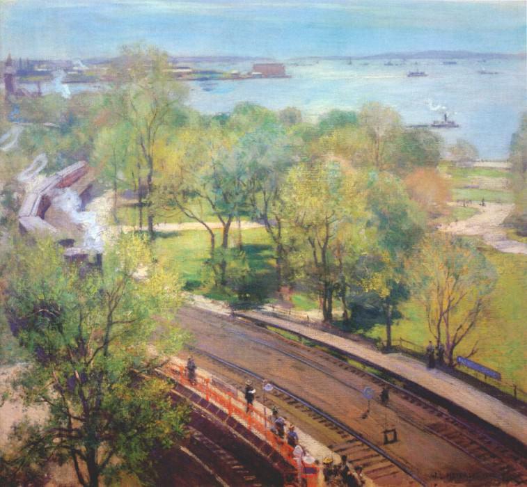 Парк в Беттери, весна 1902 г.. Уиллард Лерой Меткалф
