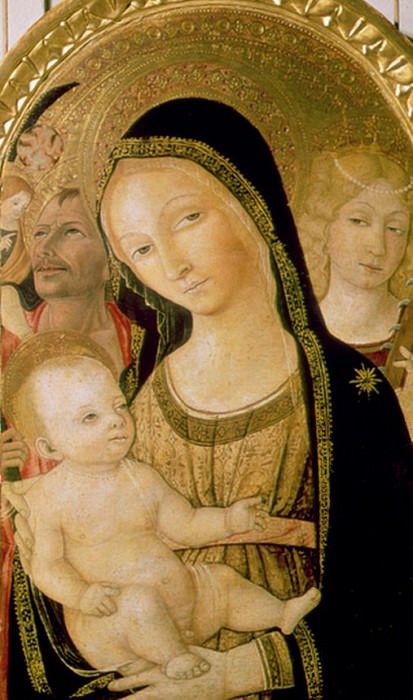 Madonna and Child with SS. Catherine and Christopher. Matteo di Giovanni di Bartolo