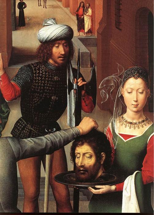 Memling Hans St John Altarpiece 1474 9 detail2 left wing. Hans Memling