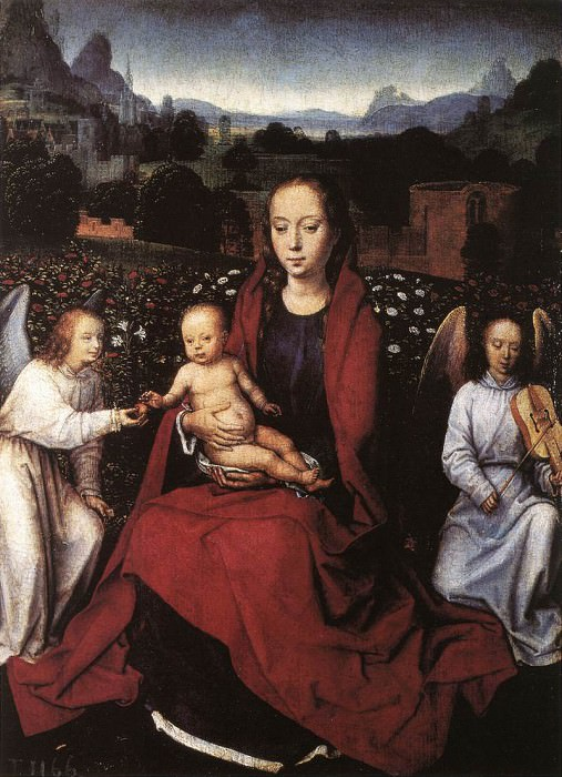 Virgin and Child in a Rose Garden with Two Angels 1480s. Hans Memling
