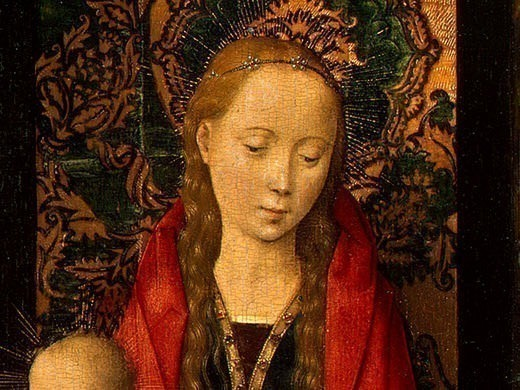 MADONNA AND CHILD WITH ANGELS,DETALJ 7, NGW. Hans Memling