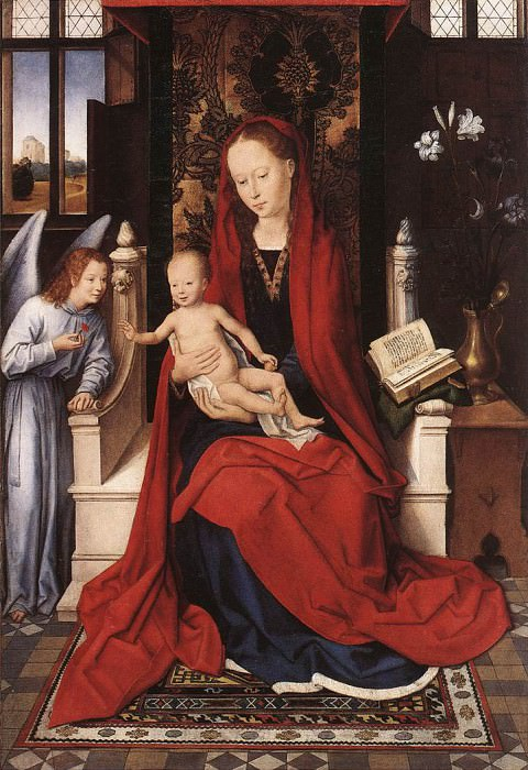 Virgin Enthroned with Child and Angel c1480. Hans Memling