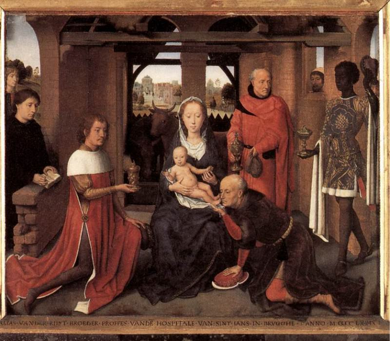 Triptych of Jan Floreins 1479 detail1 central panel. Hans Memling