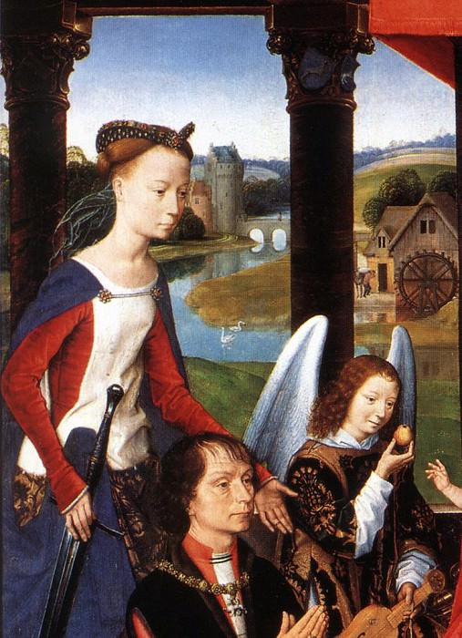 The Donne Triptych c1475 detail3 central panel. Hans Memling