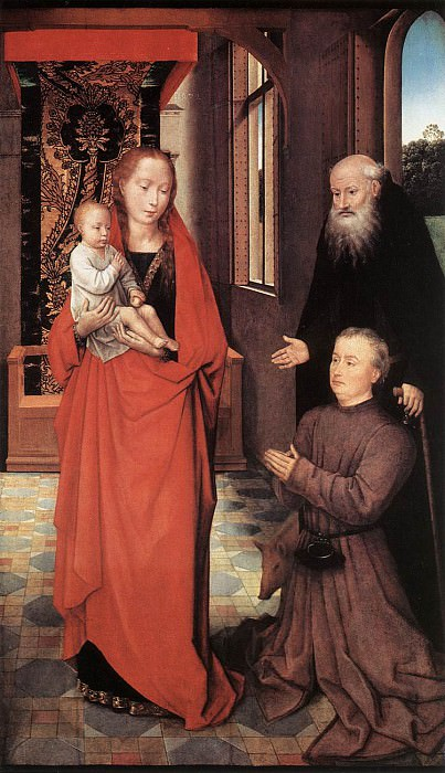 Virgin and Child with St Anthony the Abbot and a Donor 1472. Hans Memling