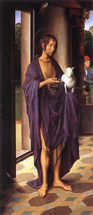 The Donne Triptych c1475 detail1 left wing. Hans Memling