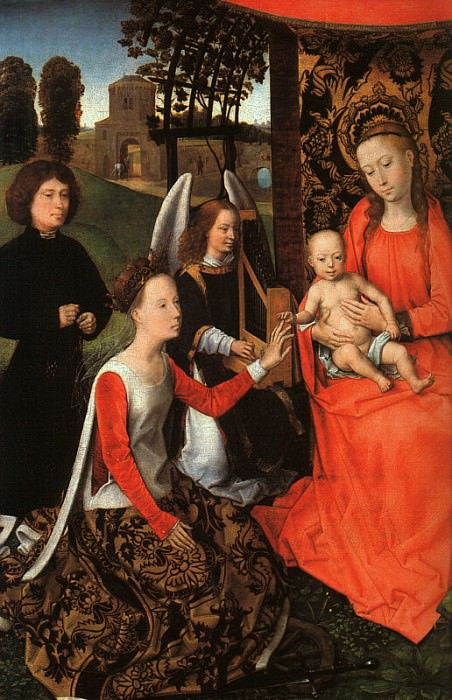 THE MARRIAGE OF ST. CATHERINE, DETAIL, TEMPERA AND O. Hans Memling