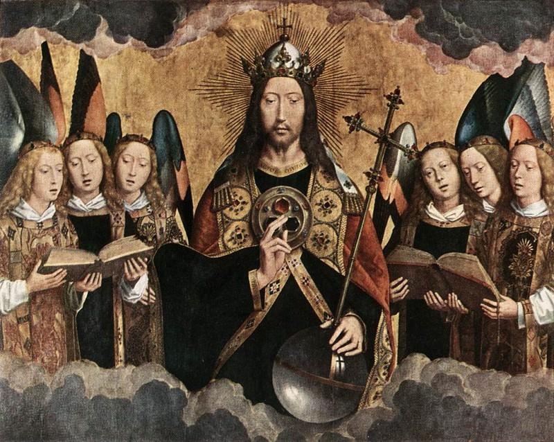 Благословляющий Христос с шестью поющими ангелами, 1484. Ганс Мемлинг