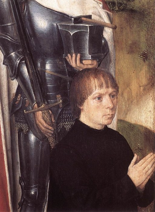Triptych of Adriaan Reins 1480 detail1 left wing. Hans Memling