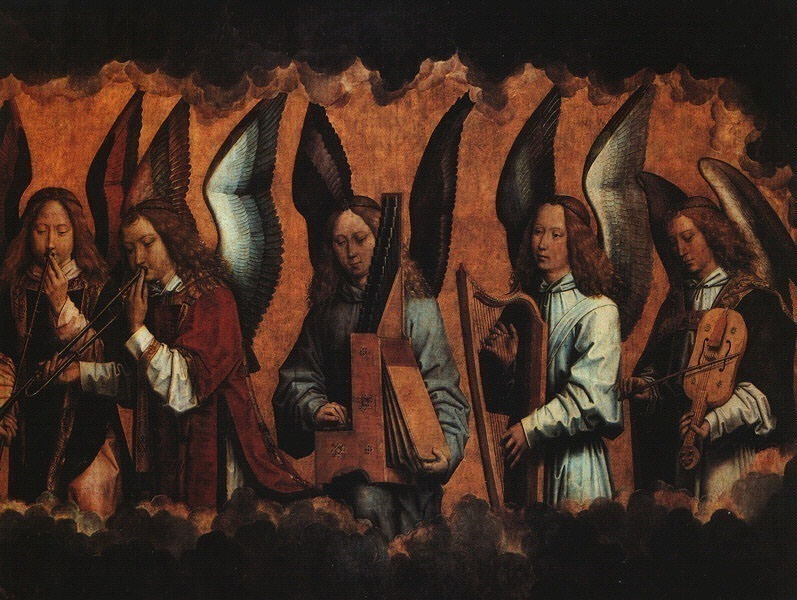 MUSICIAN ANGELS, ONE PORTION OF A TRIPTYCH, 1485, KO. Hans Memling