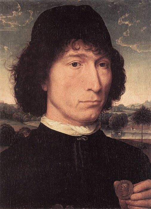 Portrait of a Man with a Roman Coin 1480 or later. Hans Memling