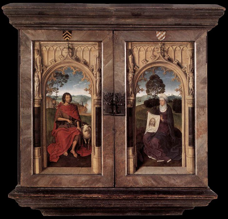 Triptych of Jan Floreins 1479 detail2 reverse. Hans Memling
