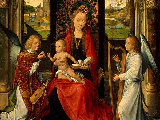 MADONNA AND CHILD WITH ANGELS,DETALJ 5, NGW. Hans Memling