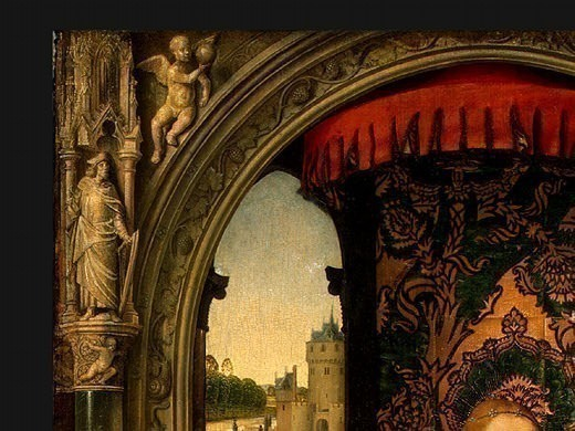 MADONNA AND CHILD WITH ANGELS,DETALJ1, NGW. Hans Memling