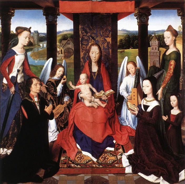 The Donne Triptych c1475 detail2 central panel. Hans Memling