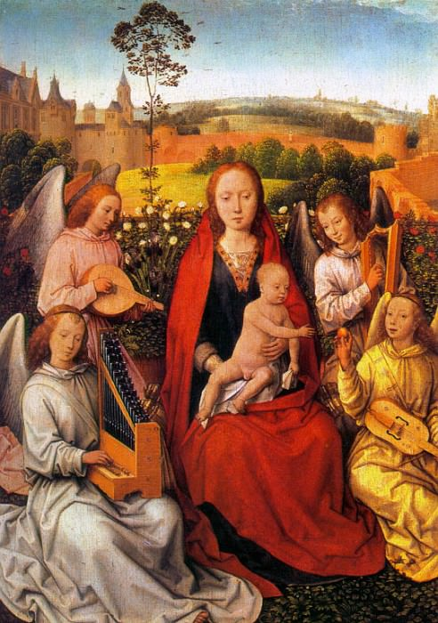 Virgin and Child with Musician Angels 1480. Hans Memling