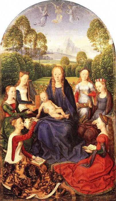 MYSTICAL MARRIAGE OF ST CATHERINE OF ALEXANDRIA, LOU. Hans Memling