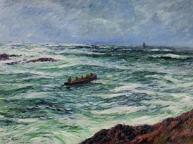 Лоцман на лодке у побережья Бретани, 1906. Анри Море