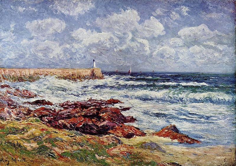 Pier of the Port of Audierne 1900. Henry Moret