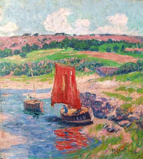 Две лодки на реке, 1909. Анри Море
