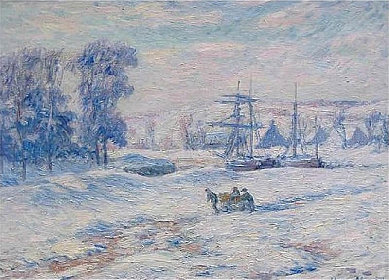 Snow at Quimper. Henry Moret