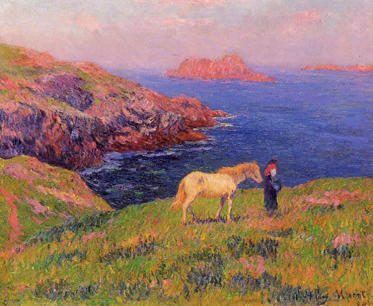 Cliff at Quesant with Horse 1895. Henry Moret
