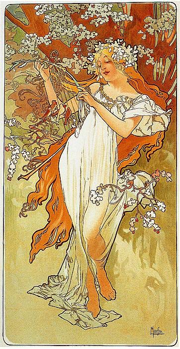 Весна (ширма -Времена года-). Альфонс Мария Муха