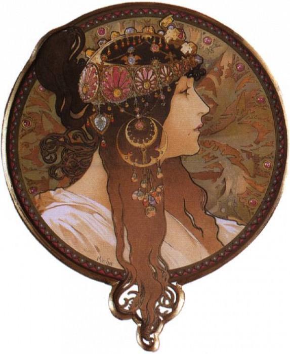 brunette. Alphonse Maria Mucha