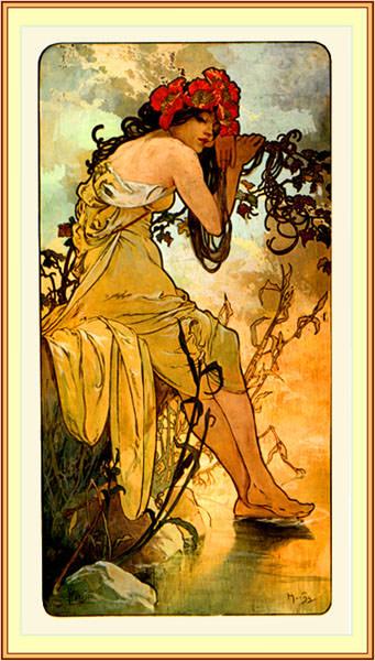 Панель -Лето- ширмы -Времена года-, 1896. Альфонс Мария Муха