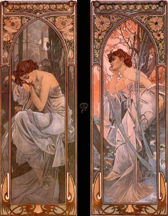 pcal am0300 evening reverie - nocturnal slumber 1889. Alphonse Maria Mucha