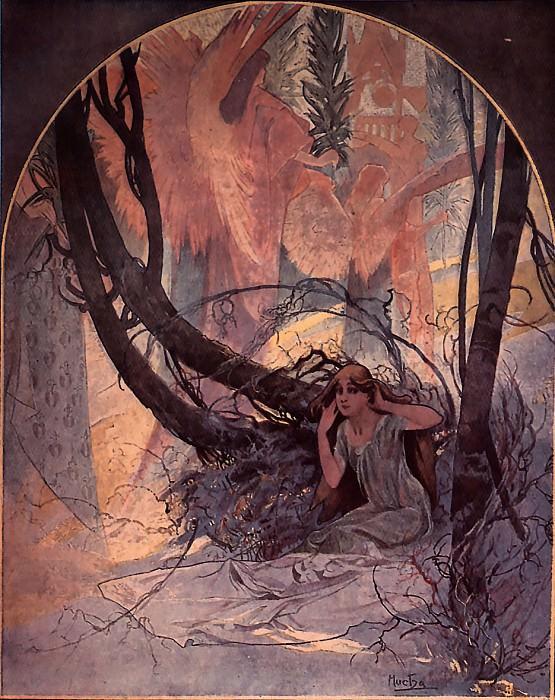 Easter Chimes Awaken Nature 1896 print. Alphonse Maria Mucha